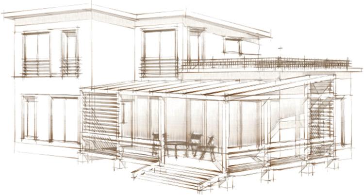 Startseite Haus Risszeichnung